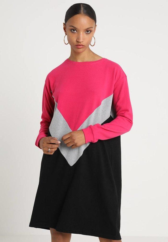 Туника черная с розовым