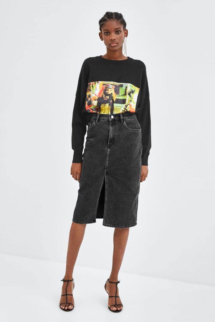 темно-серая джинсовая с разрезами