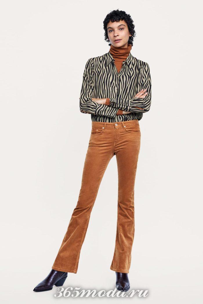 Женские брюки на осень и зиму коричневые