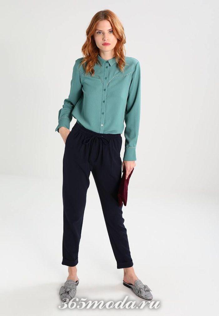 женские брюки осень-зима 2019-2020: синие