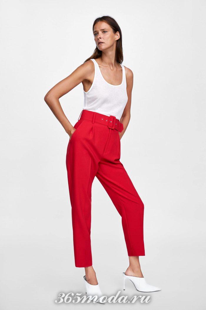 женские брюки осень-зима 2019-2020: красный