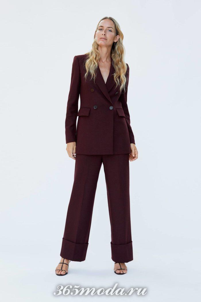 женские брюки осень-зима 2019-2020: бордовые