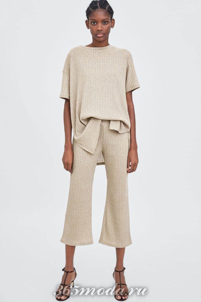женские брюки осень-зима 2019-2020: бежевые