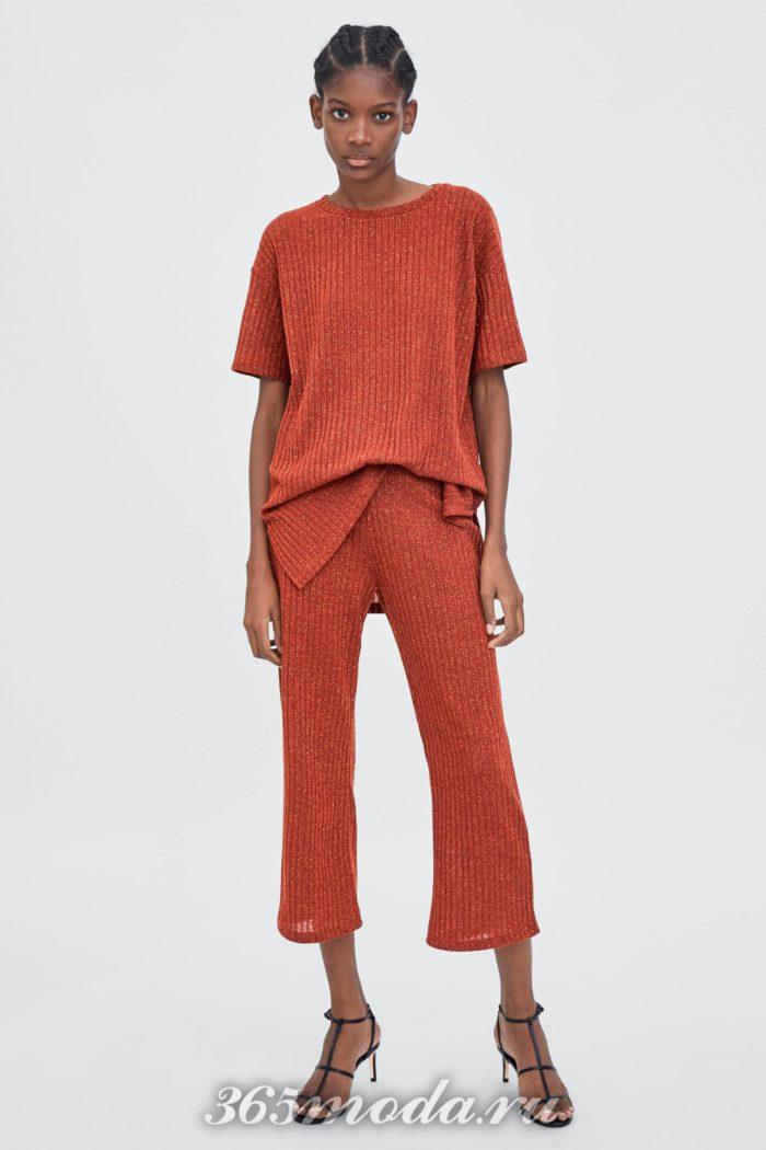 женские брюки осень-зима 2019-2020: оранжевые