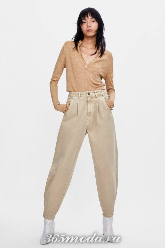Женские брюки на осень и зиму бежевые