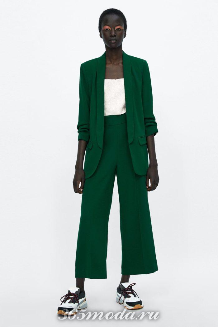 женские брюки осень-зима 2019-2020: зеленые