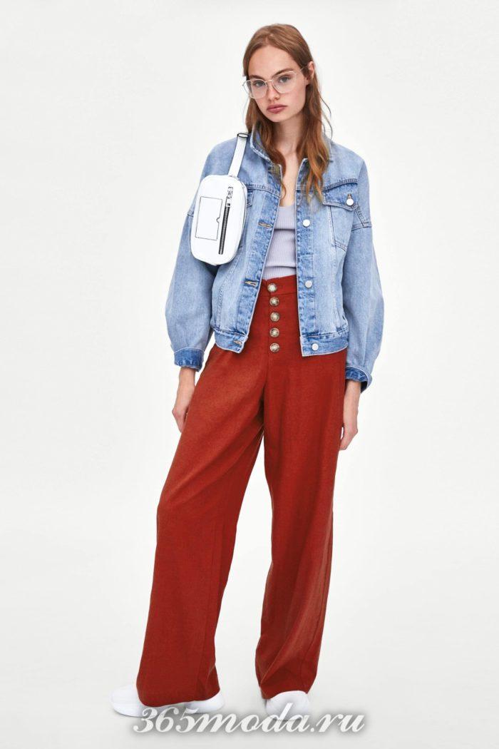 модные женские брюки осень-зима 2019-2020: красные