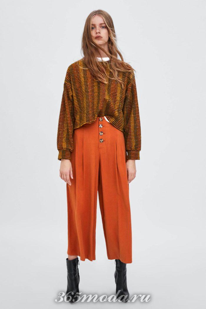 модные женские брюки осень-зима 2019-2020: оранжевые
