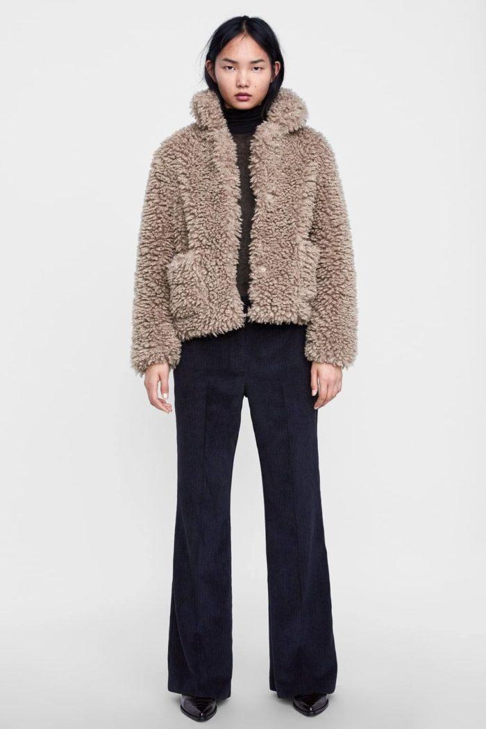 меховая куртка оливковая