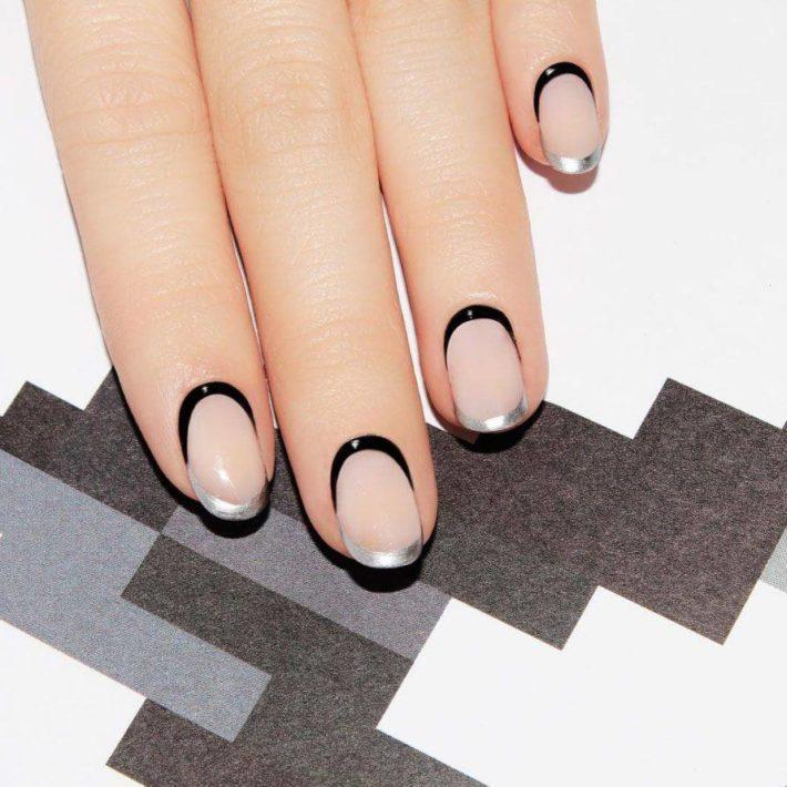 дизайн ногтей гель-лаком осень-зима: Французский