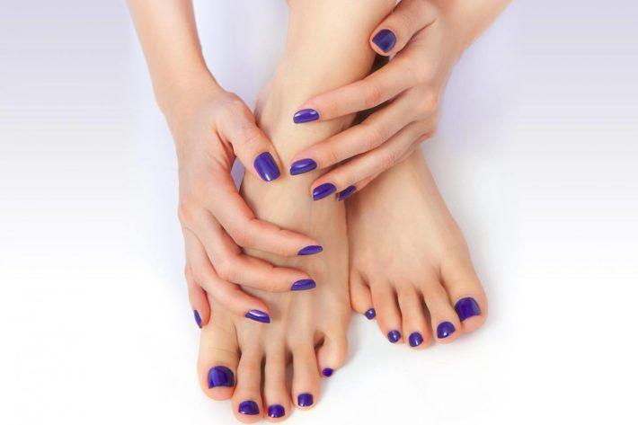 синий дизайн ногтей шеллак