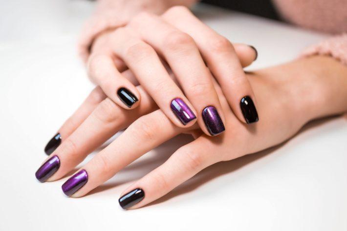 фиолетовый дизайн ногтей шеллак