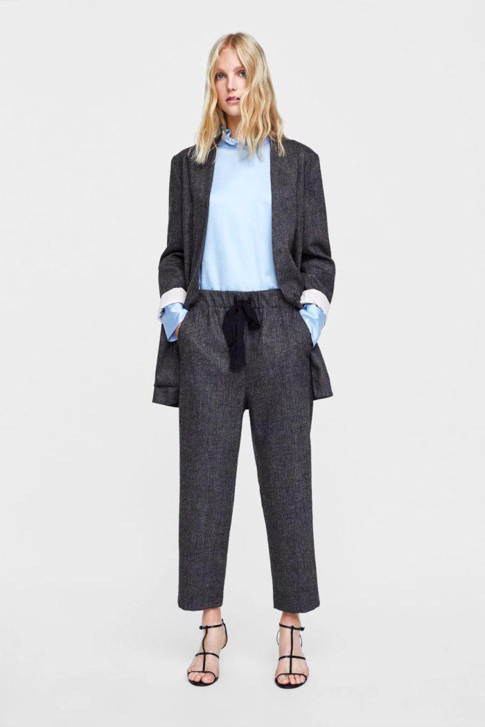 темно-серый прямые брюки
