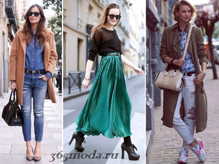 образы с юбкой и джинсами