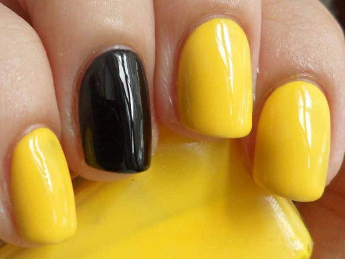 дизайн ногтей гель лаком желтый с черным
