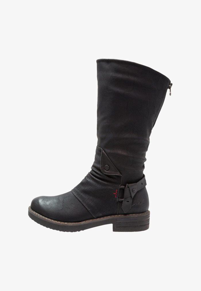 сапоги темные толстый каблук