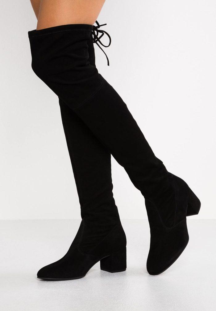 сапоги высокие черные на шнурках