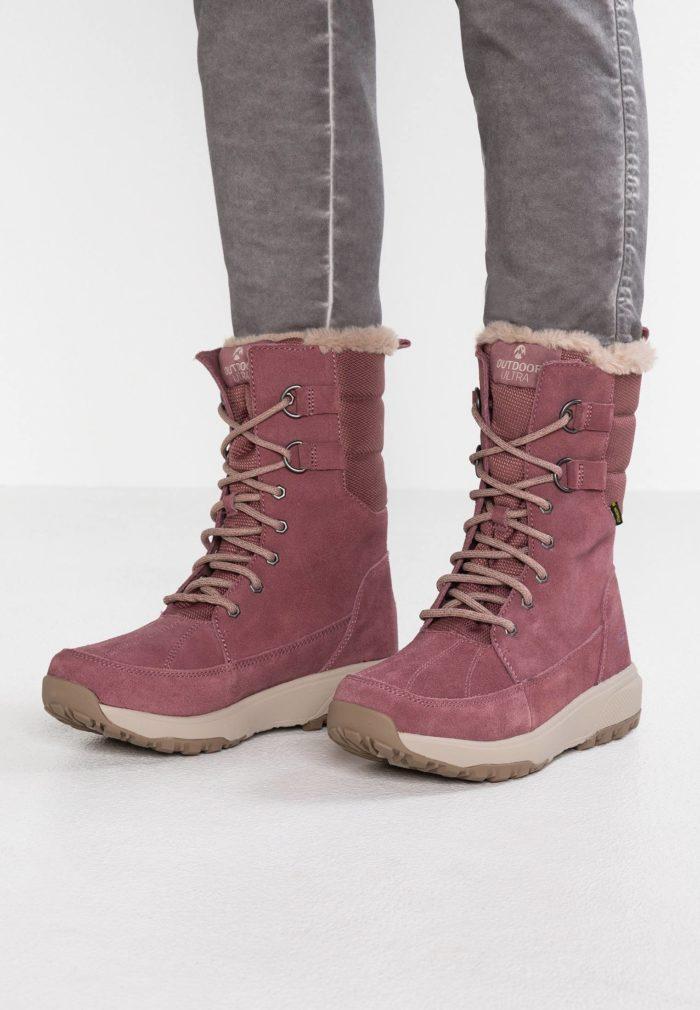 розовая обувь на шнурках с мехом