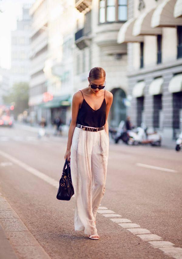 Стильный женский образ со штанами на лето и весну