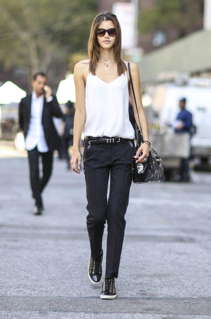узкие черные брюки с поясом