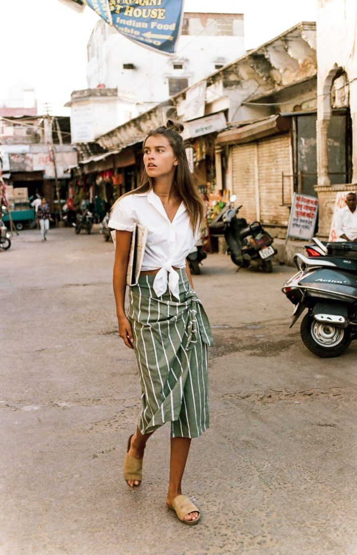 полосатая юбка под блузку