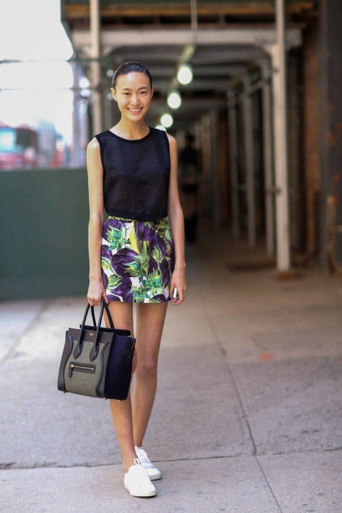 мини юбка с принтом