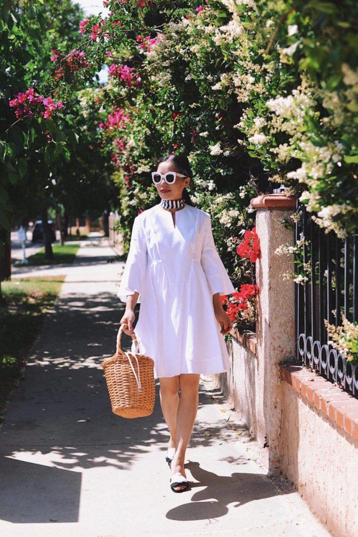 белое платье с поясом Baby doll