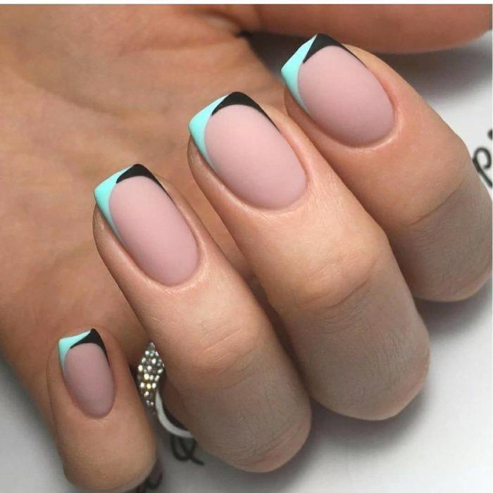 квадратный френч короткие ногти