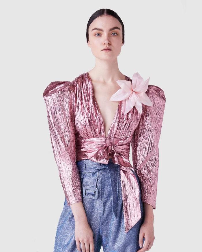 дутая блузка розовый металлик