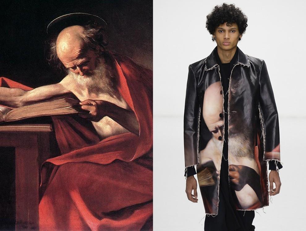 Картина Караваджо «Святой Иероним» (1605–1606) и пальто из коллекции Matthew Miller