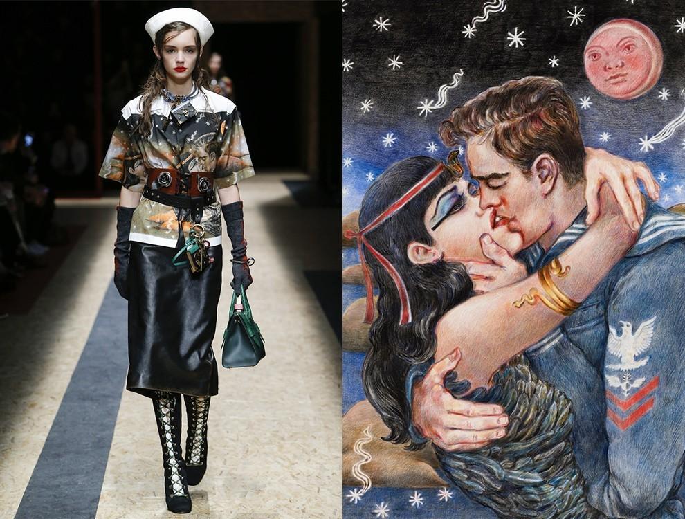 Образ из коллекции Prada и картинка Кристофа Шемена Improssible True Love