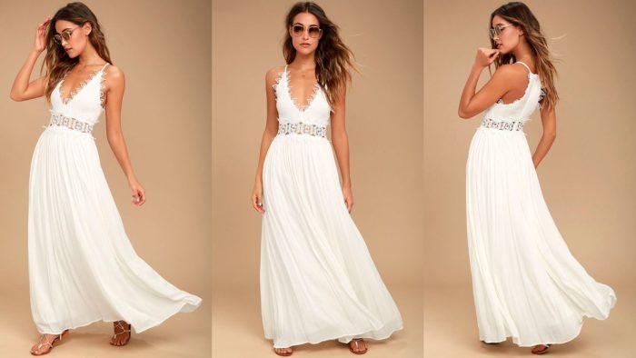 Вечерние платья: Белое длинное