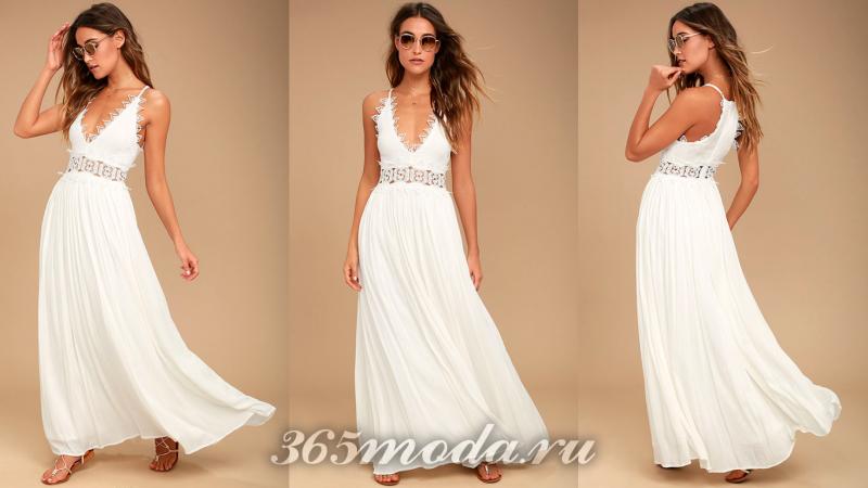 Белое длинное вечернее платье 2