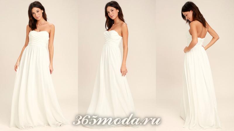 Белое красивое вечернее платье