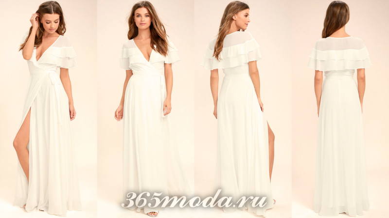 Белое вечернее платье 2018