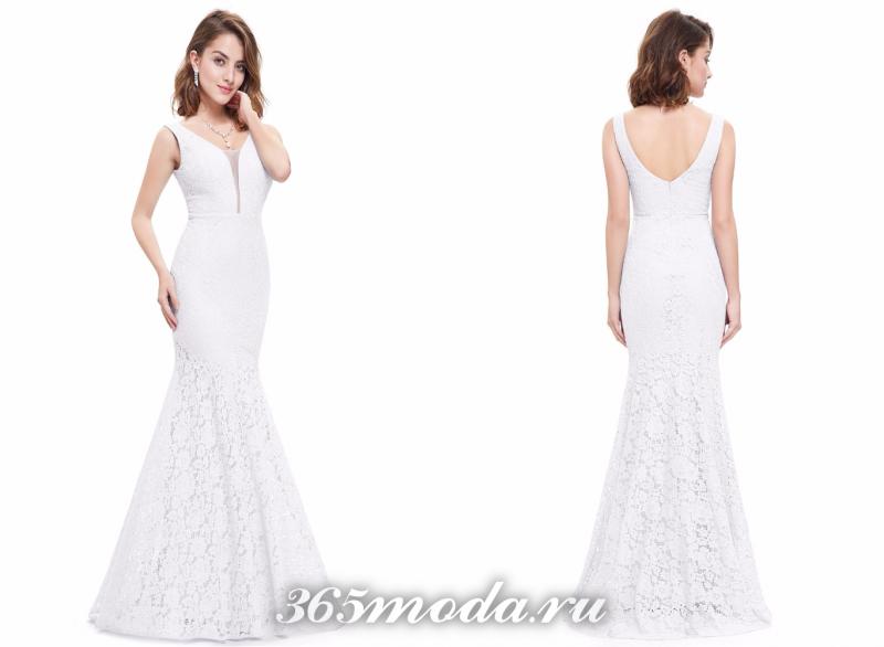 Белое вечернее платье 2018-2019