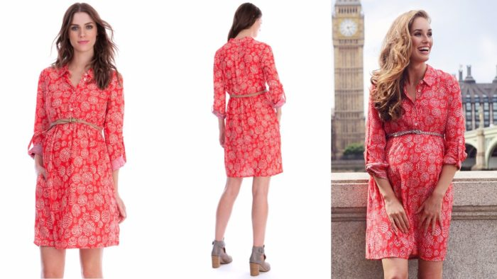 Вечернее платье для беременной красное с принтом