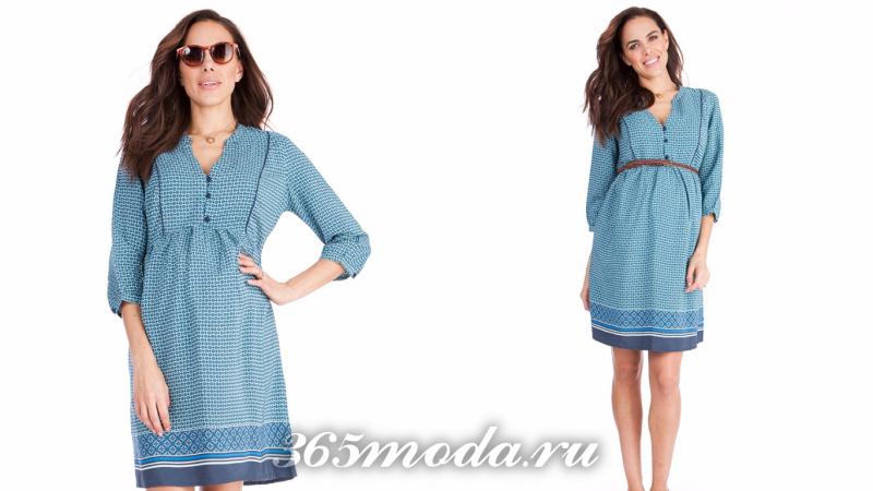 Голубое вечернее платье для беременной