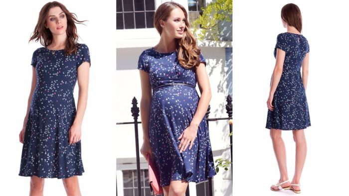 Вечернее платье для беременной синее с рисунком
