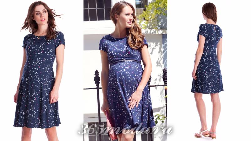 Вечернее платье для беременной 2018 синее с рисунком