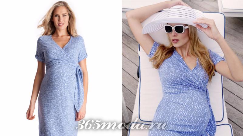 Вечернее платье для беременной голубое в горошек