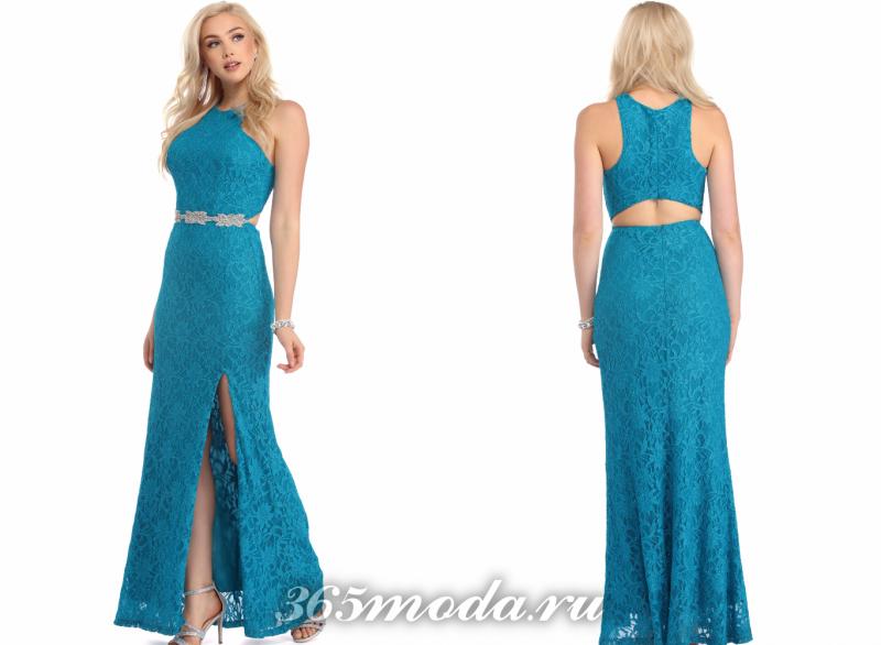 Бирюзовое красивое вечернее платье