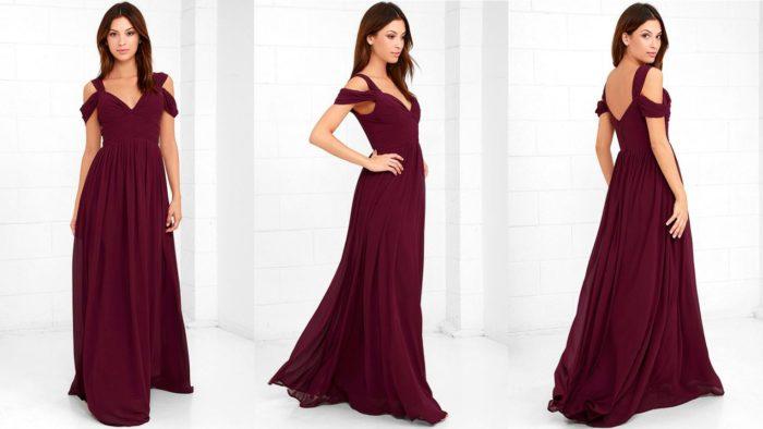 Вечерние платья: Бордовое длинное