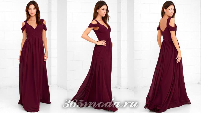 Бордовое длинное вечернее платье