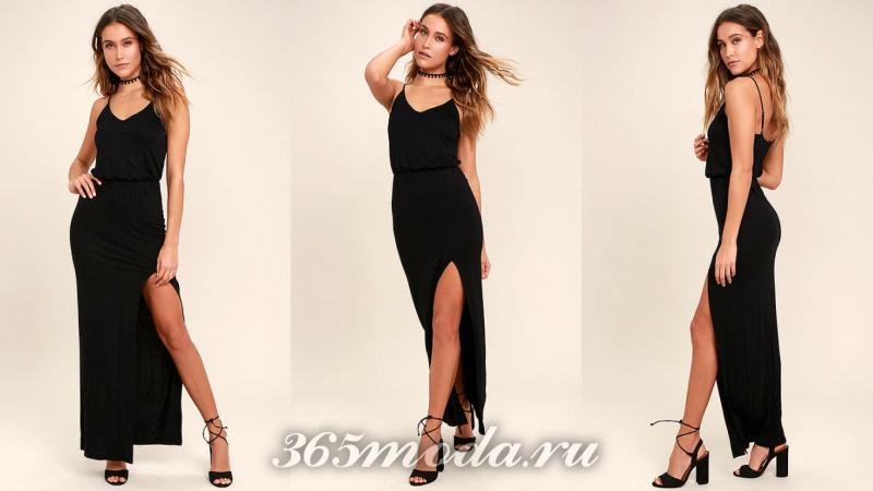 Черное длинное вечернее платье 2