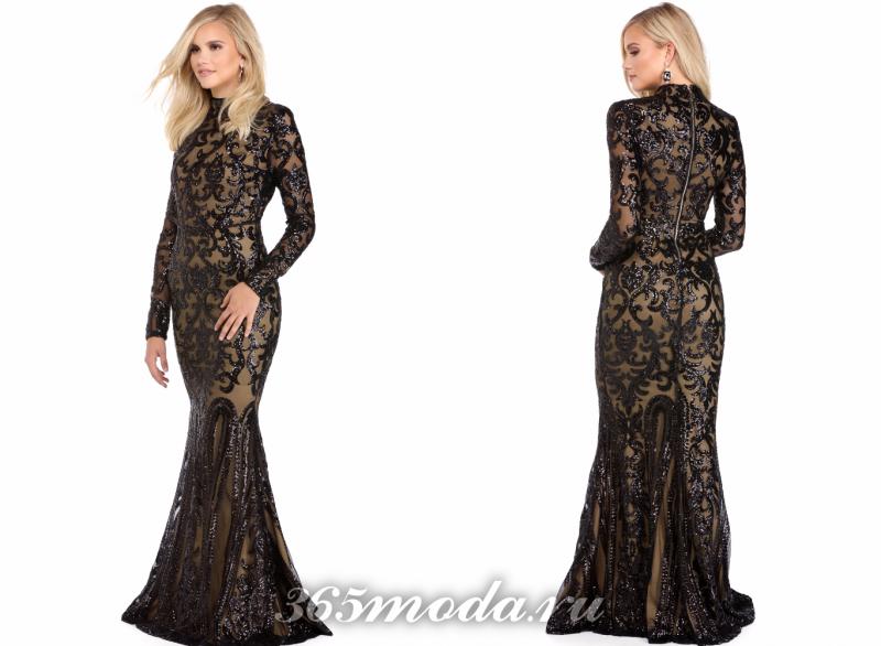 Черное красивое вечернее платье 2018