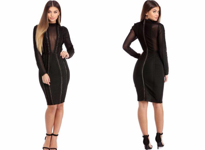 Черное вечернее платье 2019-2020