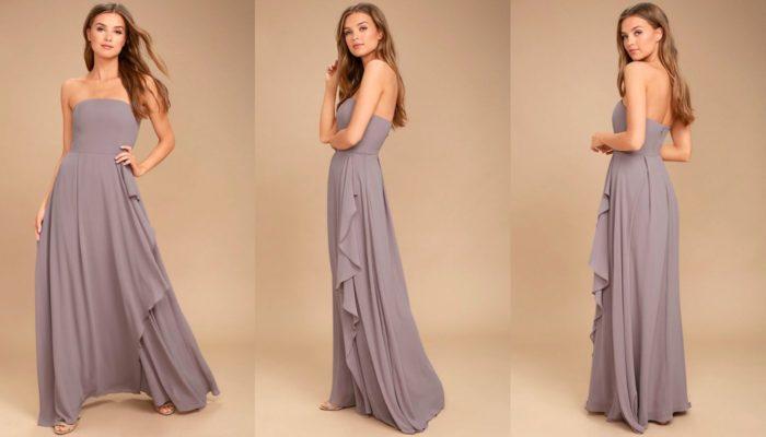 Вечерние платья: Сиреневое длинное