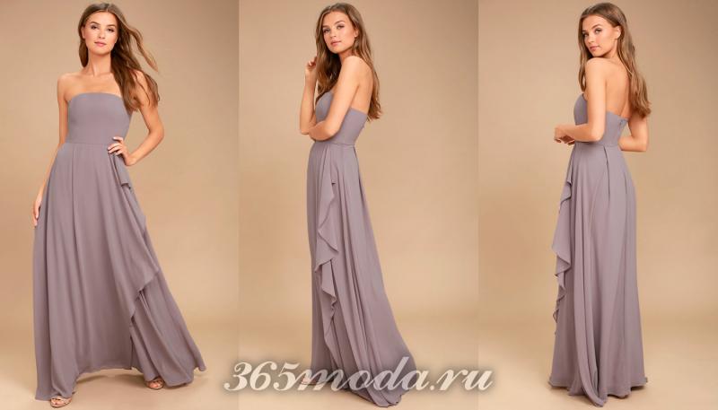 Сиреневое длинное вечернее платье