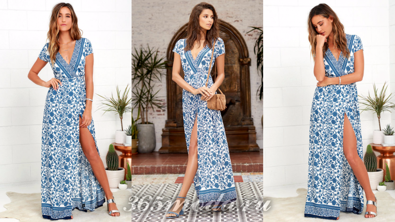 Голубое длинное вечернее платье